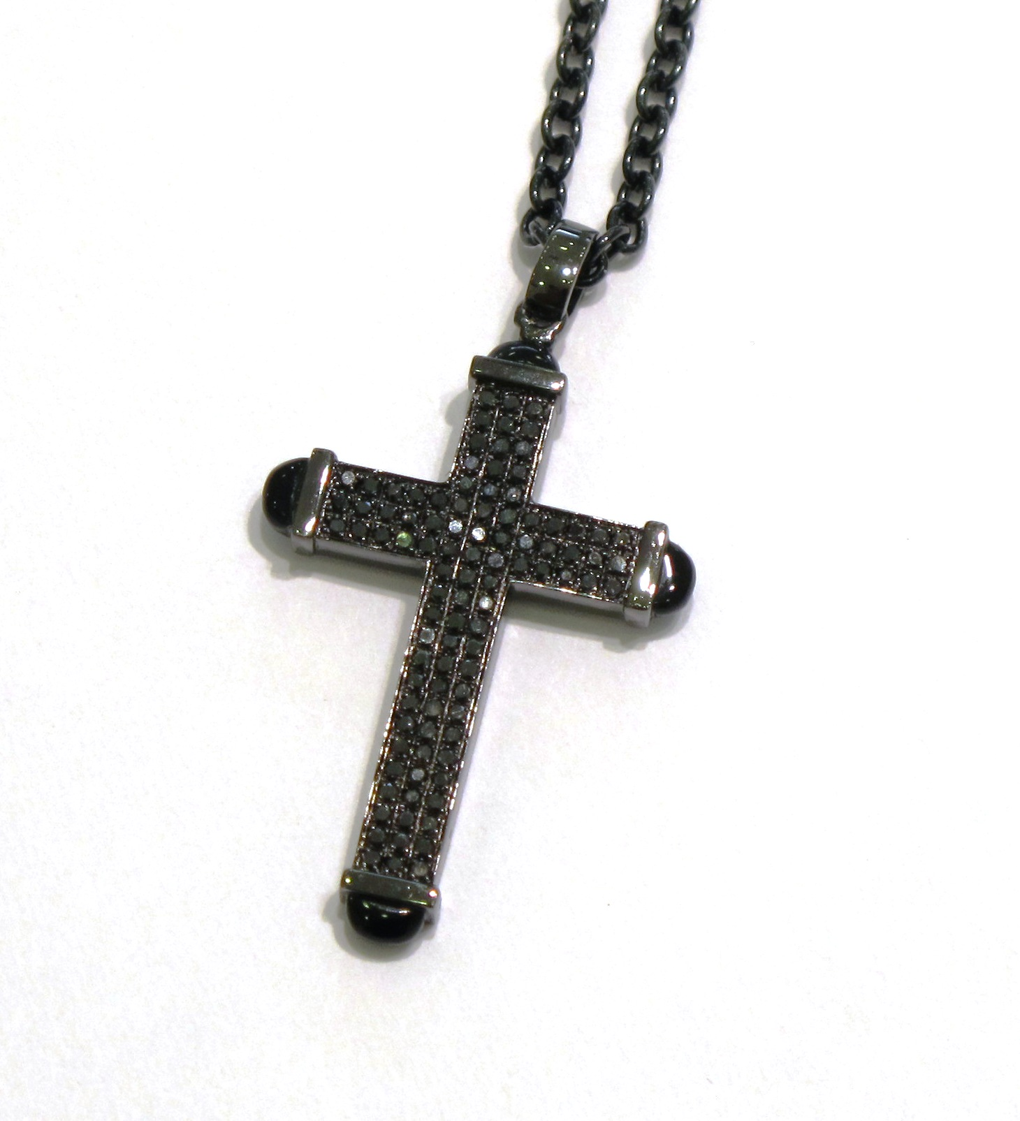 Alan friedman company beverly hills jewelry for Black and blue jewelry cross necklace