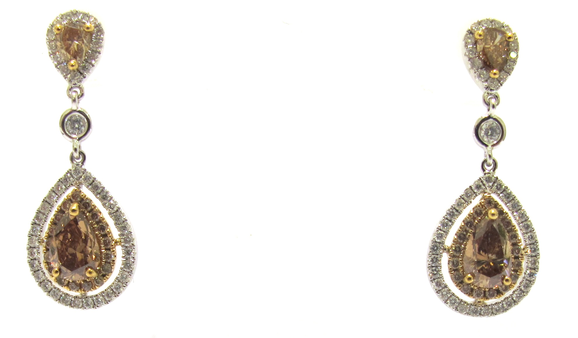 Pear Shape Cognac Diamond Earrings